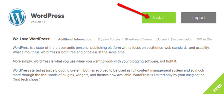 click wordpress install button