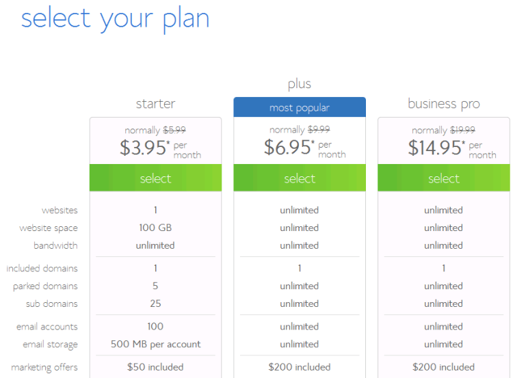 select your bluehost hosting plan
