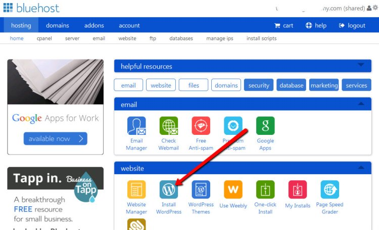click wordpress from bluehost account page