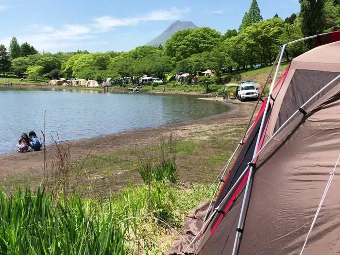 鶴見岳とテント