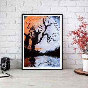 """"""" Nuit étoilée avec cerfs """" Poster disponible format A3"""