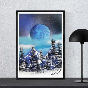 """"""" Nuit étoilée sur la neige """" Disponible Format A3"""