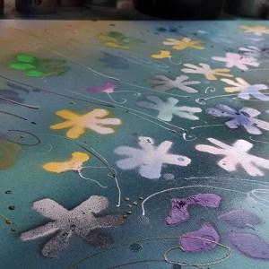 """Cours 2 """" Fleurs de Printemps en vert """""""
