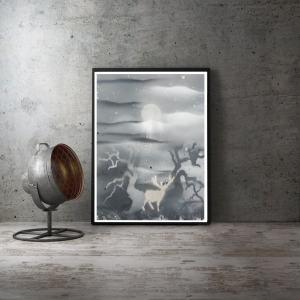 """Poster A3 noir et blanc """" Paysage avec cerf """" Disponible"""