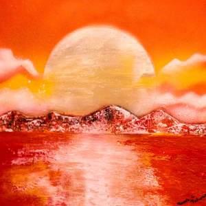 Tableau Coucher de Lune peint à la bombe par Mounia LOUKRISS