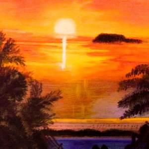 Tableau Femme nue sur un hamac au coucher du soleil par Mounia LOUKRISS