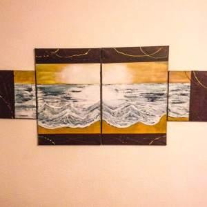Tableau quadriptique L' eau delà des vagues par Mounia LOUKRISS