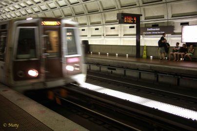 Yellow train arriving at Virginia-Square Metro Station