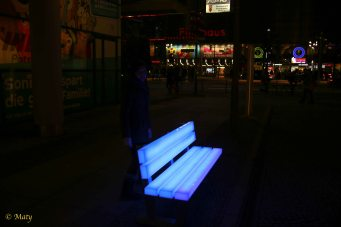 Very cool way of making this bench visible at night - Potsdamer Platz.