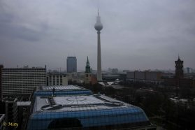 View from the top of the Berliner Dome - view at the Berlin TV Tower - it was cloudy but you cannot choose the weather