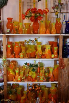 Store offers dozens and dozens of hand made glass gifts. All of them are unique and available in different colors.