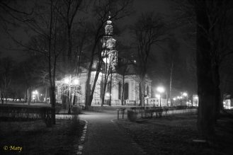 Black and White: wonderful night photo session of Kosciol Garnizonowy (Garrison Church) in Jelenia Gora, Poland.