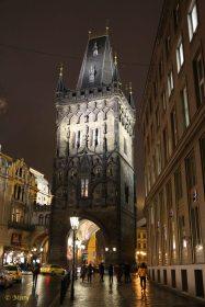 Prasna Gate at night - Prague, Czech Republic