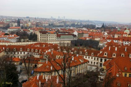 Red roofs of the city seen from the Hrad - Prague, Czech Republic