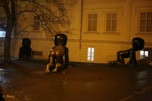 """Huge """"Babies"""" crawling at close to the Museum Kampa! They look terrifying at night!"""