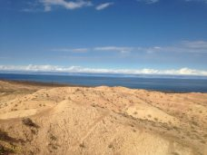 Lake Issyk Kul from Skazka - you can see the other shore with mountains surrounding the lake