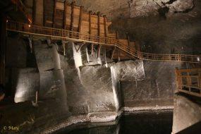 Underground salt lake with walkway above it