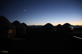 Night time in the yurt hotel. We had great time and we did meet some French guys!