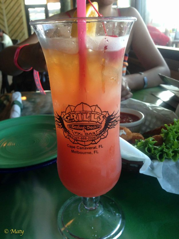 Having a drink at the Grills Seafood Deck and Tiki Bar.