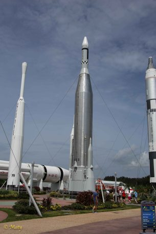 Main display of the rockets at the Kennedy Space Center