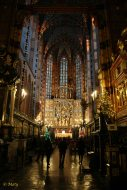 Far look at the Gothic Altarpiece by Veit Stoss in the Saint Mary's Basilica (Kościół Mariacki)