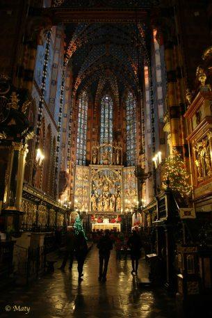 Far look at the Gothic Altarpiece by Veit Stoss in the Saint Mary's Basilica (Kościół Mariacki)