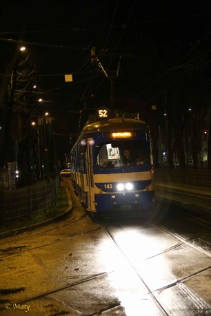Tram at night in Krakow