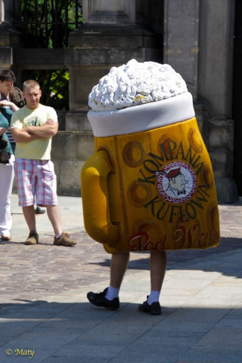Humongous walking beer at Krakow