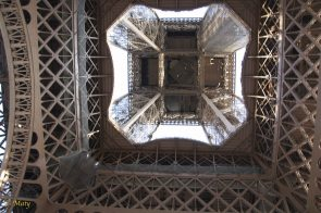 looking at the Eiffel Tower from the bottom