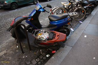 this scooter is working as trash bin :)