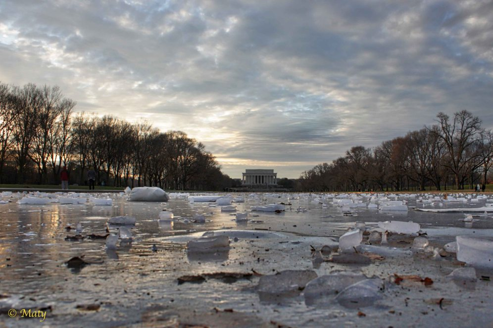 The Lincoln Memorial Reflecting Pool in the Winter