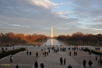 Reflecting Pool from Lincoln Memorial at Fall. Washington Monument in the background.