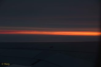 Red sunrise above the wing!