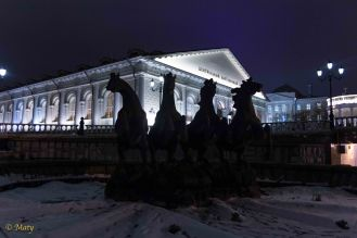 Moscow Manege and foutain with four horses (is off during winter time)
