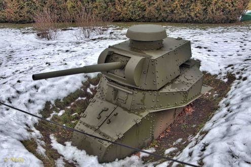 "This Russian tank was converted into ""steel defense postion"""