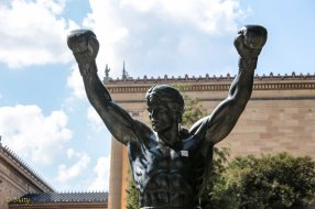 Rocky Balboa statue next to the Museum of Arts in Philly