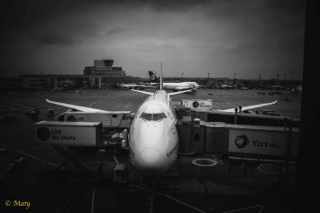 Nose of 747 - prep for the next flight