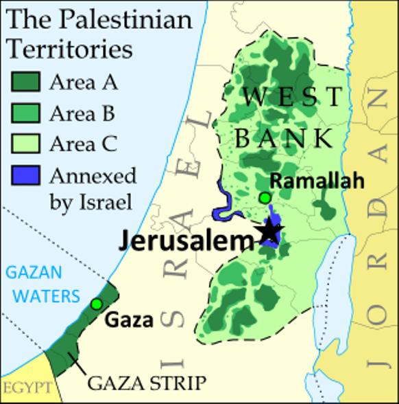Retiro de Israel de zonas de Cisjordania (West Bank) tras el Acuerdo de Oslo (2003 y 2005). Zona A administrada políticamente por palestinos. Zona B administrada por palestinos y seguridad conjunta palestino-israelí y zona C aún bajo administración israelí.
