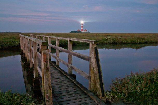 Westerhever Leuchtturm Bruecke Sonnenuntergang