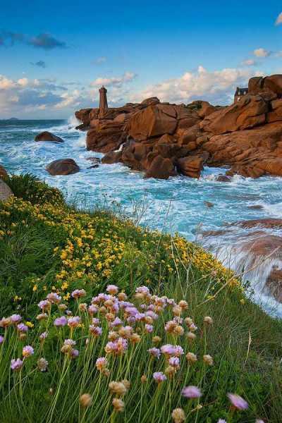 Leuchtturm Frankreich Lighthouse Ploumanac'h Bretagne Wellen Landschaftsfotografie