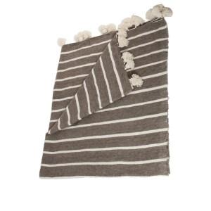 woollen pom pom blanket