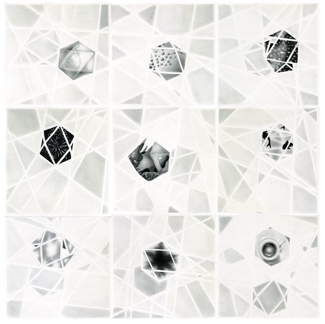 ARABESQUE MAP, Black stone on paper, 90 x 90 cm, nine squares of 30 x 30 cm each.