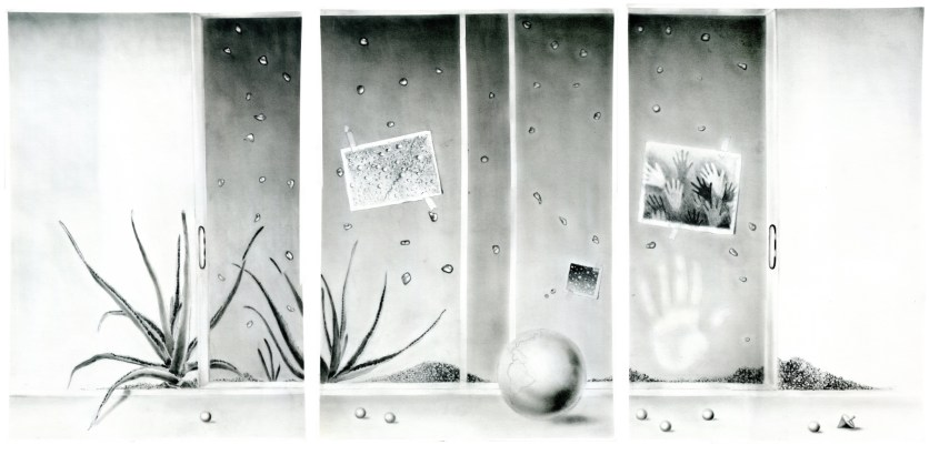 HISTOIRES DE SABLE (SAND STORIES), charcoal on paper, three panels of 70 x 50 cm each.