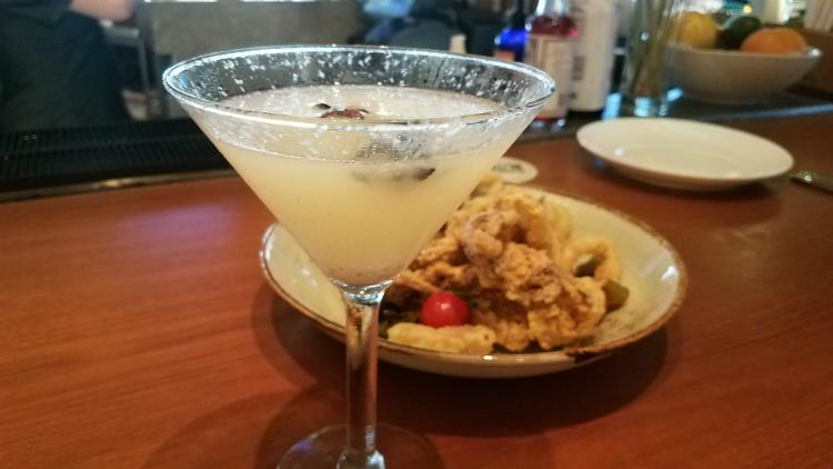 cocktail and calamari at humble market kitchen