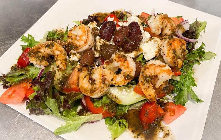 Greek Salad at Cafe Des Amis Happy Hour