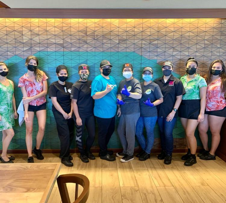Happy Womens Day - Leilanis Maui Restaurant Employees with Masks