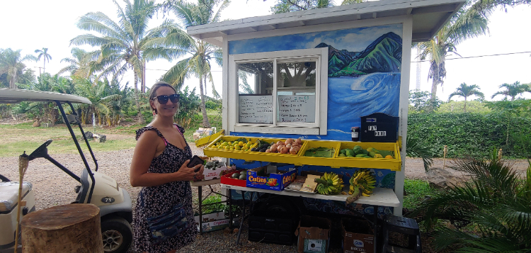 Kayla at the fruit stand in Maui Hawaii