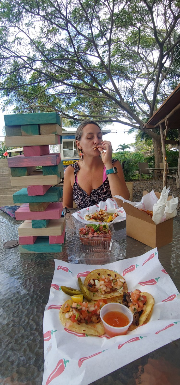 Maui Happy Hours getting tacos in Sprecklesville Maui