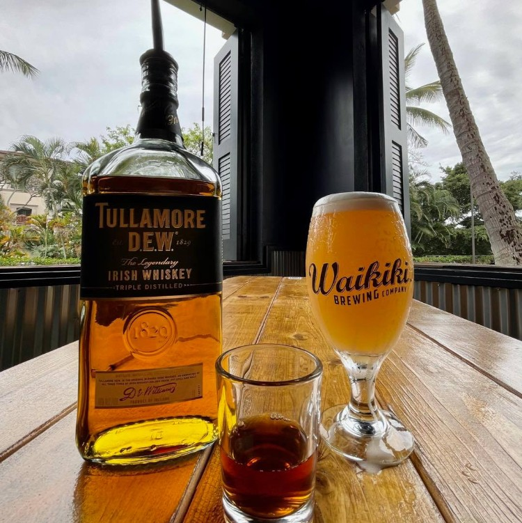 Happy Hour Shot and Beer - Tullamore Dew Whiskey and Waikiki Brewing Company Beer