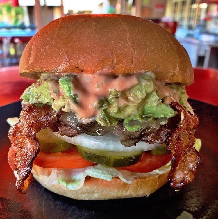 Happy Hour bacon cheeseburger at Cool Cat Cafe Lahaina Maui